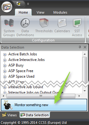 """Showing the \""""Monitor something new\"""" button on the Data Selection tab."""