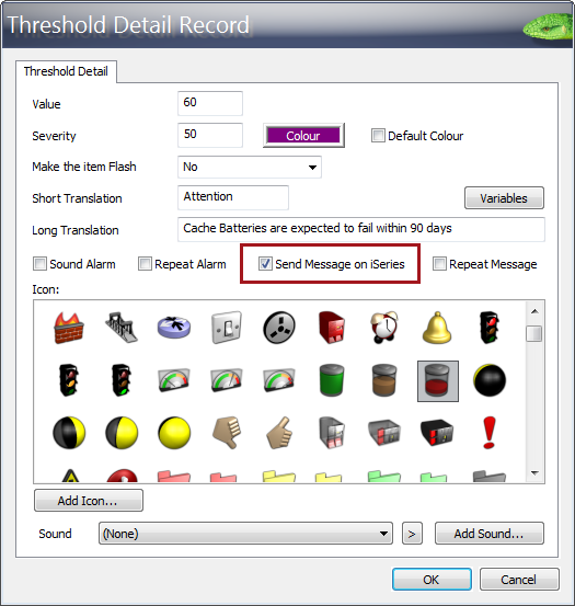 The Threshold Detail Record in QSystem Monitor.