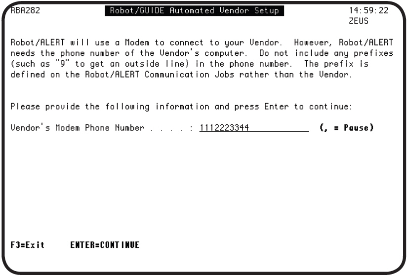 The Robot GUIDE Automated Vendor Setup panel in Robot ALERT.
