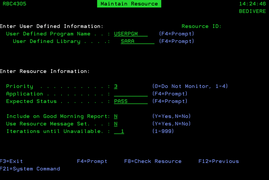 The Maintain Resource panel with user defined program USERPGM.