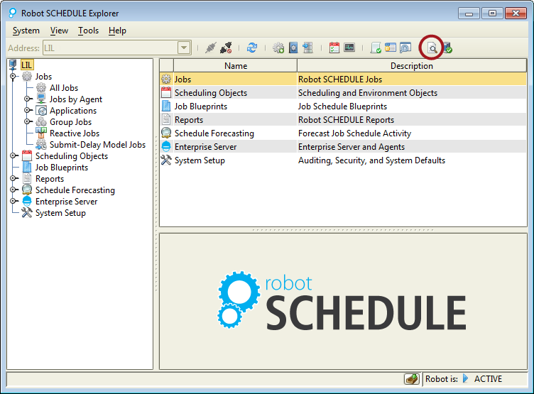 Showing the Robot SCHEDULE Explorer toolbar icon for Working with Spooled Files.