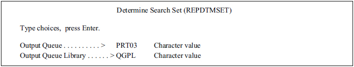 The Determine Search Set panel.