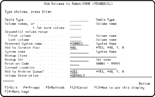 The Add Volumes to Robot SAVE panel.