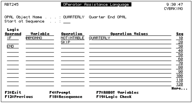 The OPerator Assistance Language pane with QUARTERLY OPAL Object Name.